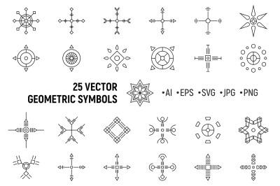 25 abstract geometric symmetric shapes