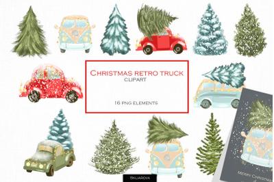 Christmas retro truck clipart