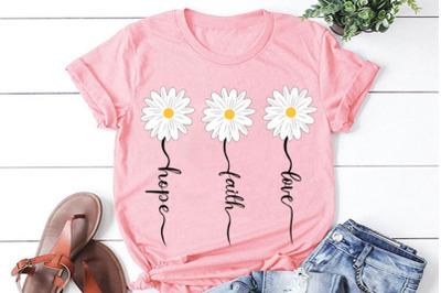 Faith Hope Love Daisy svg, daisy clipart, flower svg, daisy cut file,
