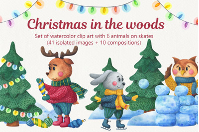 Christmas in the woods. Watercolor clipart. Animals on skates.