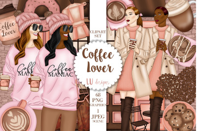 Coffee Lover Clipart, Coffee Illustrations, Coffee Time Graphics