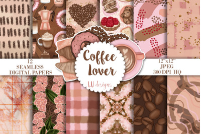Coffee Lover Digital Papers, Coffee Backgrounds, Seamless Patte