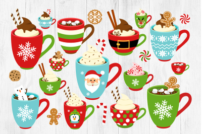 Christmas Mugs Clipart, Hot Chocolate Mugs, Holiday Mugs, PNG