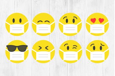 Emoji Face Masks SVG, Emoji 2020, Quarantine, PNG