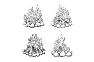 Traveller camping fireplace sketch