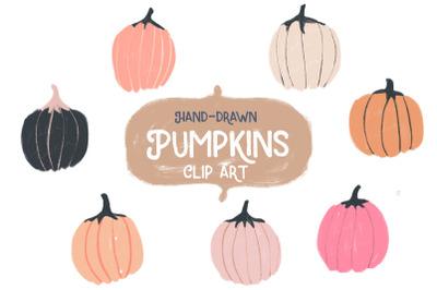 Hand-drawn pumpkin clipart + Bonus pattern