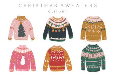Ugly sweaters hand-drawn clipart