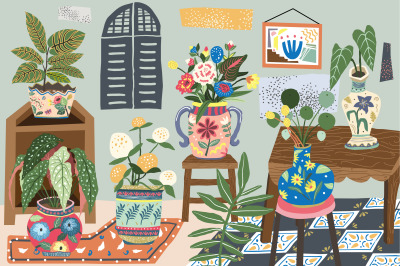 Vintage House Plant Illustration