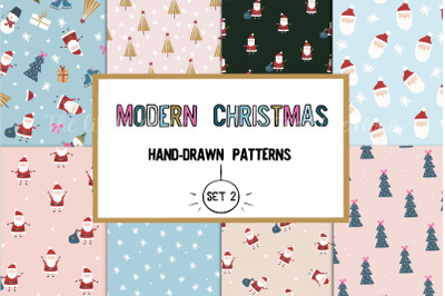 Modern Christmas hand-drawn patterns