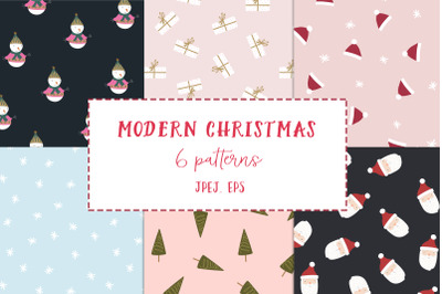 Modern Christmas seamless patterns