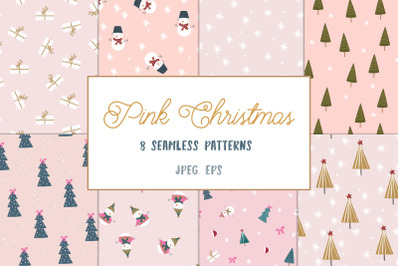 Pink Christmas pattern collection