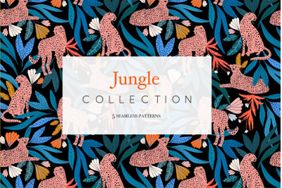 Jungle pattern collection, cheetah patterns, floral pattern patterns