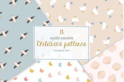 Childrens seamless handdrawn pattern