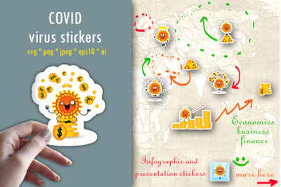 Covid stickers. Coronavirus stickers. Economic crisis. Finance.