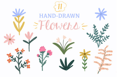 Gouache handdrawn flowers clipart
