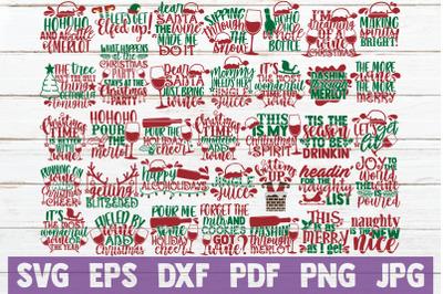 Holiday Wine SVG Bundle   Christmas SVG Cut Files