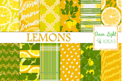 Lemons Digital Papers, Citrus Backgrounds, Summer Patterns