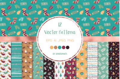 12 Christmas Winter Vector Patterns