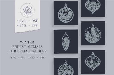 Winter Forest Animals Christmas Baubles SVG Cut-Files