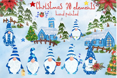 Gnomes Clipart Christmas clipart Christmas flowers Winter