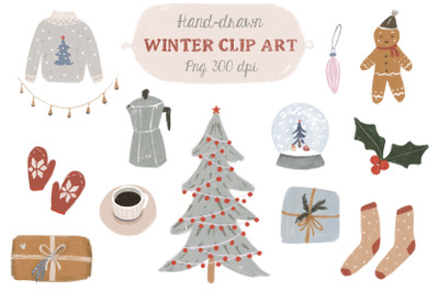 Handdrawn winter clipart
