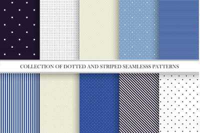 Dotted and striped elegant patterns