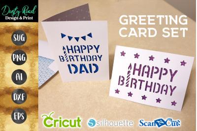Birthday Card set of 2 - SVG Cricut paper cut Silhouette PNG cardmakin