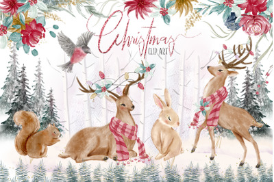 Woodland Christmas illustrations