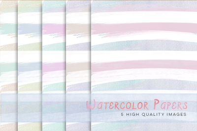 Pastel Watercolour Stripes Digital Papers, Pastel Digital Papers, Pastel Stripes, Stripes paper for commercial use, Watercolor digital paper