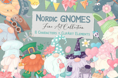 Nordic Gnomes 8 characters and clipart elements