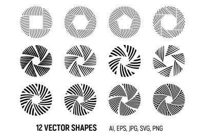 12 abstract circular ornaments. Vector symbols.