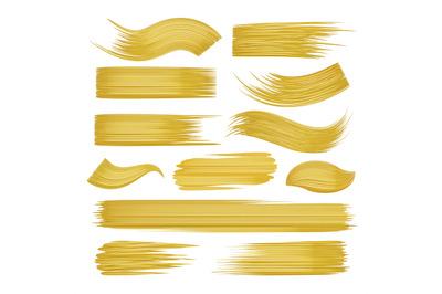 Golden brushstrokes set on white