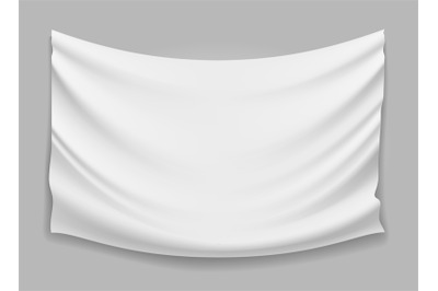 Blank white fabric flag banner