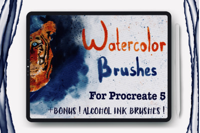 Watercolor Brushes For Procreate and Alcohol Ink