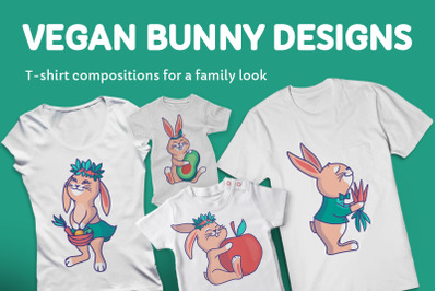 Set of bunnies for apparel designs