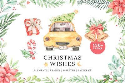 Christmas wishes. Watercolor noel