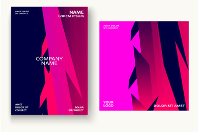 Minimal cover graphic design vector. Neon halftone pink blue gradient.