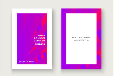 Minimal cover set design vector illustration.Neon halftone pink purple