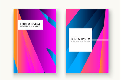 Minimal cover set design vector illustration. Neon halftone pink blue
