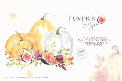 Pumpkin Season Autumn Watercolor Clipart