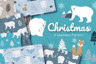 Christmas Polar Bear Seamless Pattern
