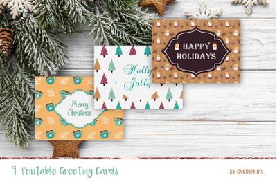 9 Christmas Printable Greeting Cards