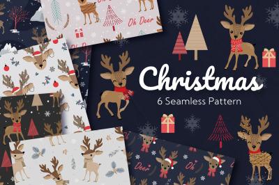 Christmas Reindeer Seamless Pattern
