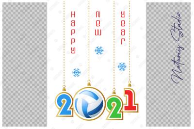 Happy New Year 2021. Beach Volleyball.