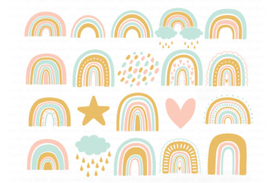 Rainbow SVG, Rainbows Pastel SVG Cut Files, Boho Rainbow, Cute Rainbow