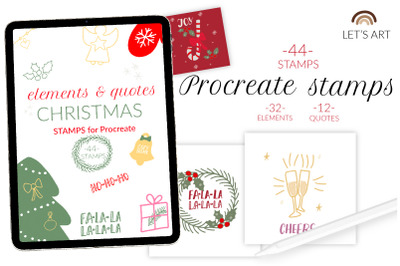 Christmas procreate stamps, xmas brushes for illustrations and greetin