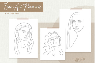 Line Art Portraits of Beautiful Women in SVG and EPS