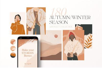 Autumn Winter season. Abstract women