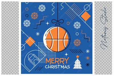 Abstract Christmas sports greeting card. Basketball.