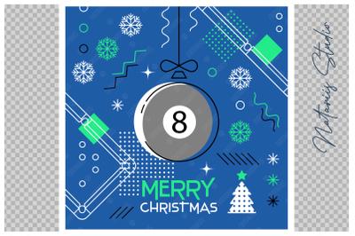 Abstract Christmas sports greeting card. Billiard.